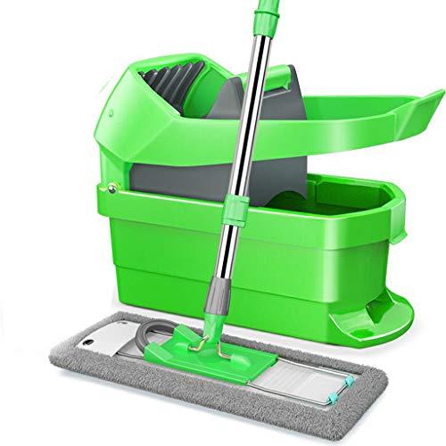 Microvezel Piso Pianta Bezem en emmer Set Profi Spremere Mop tabletten voor Wet Dry vloerreiniging, roestvrijstalen handgreep en 360 graden draaibare kop Groen