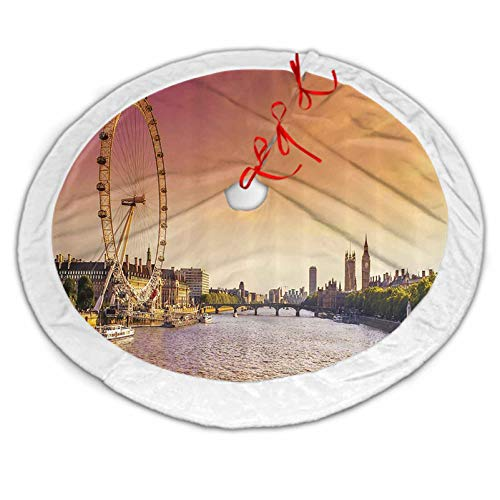 London Decor Collection Christmas Tree Skirt Gold Sunset View from Bridge on Thames River Ferris Wheel London Eye Big Ben Westminster Picture Christmas Tree Holiday Decor Peach 48 Inch