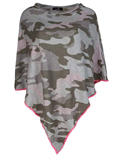 Zwillingsherz Poncho mit Kaschmir im Camouflage Design - Hochwertiges Cape für Damen Mädchen - XXL Umhängetuch und Tunika - Strick-Pullover - Sweatshirt - Frühjahr Sommer Herbst und Winter - grau