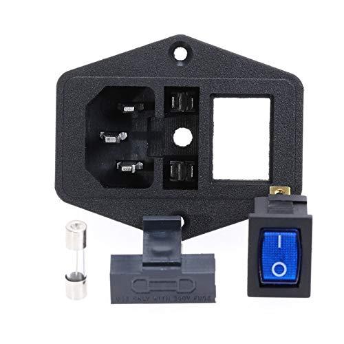 HGLNBN Interruptor basculante Interruptor 5pcs 10A 250V Entrada del módulo Plug Rocker Male zócalo de energía de 3 Pin Interruptor + Fusible (Color : Blue)