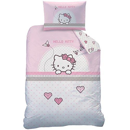 Hello Kitty 045284Kite Set di Biancheria da Letto, Cotone, Rosa, 100x 135cm