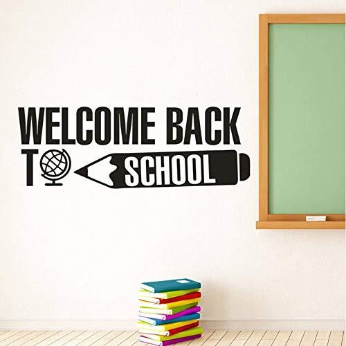 Bentornati a scuola adesivi murali con scritte congratulazioni scolastiche banner decalcomanie in vinile citazione istruzione adesivi murali decorazione aula A5 57x20cm