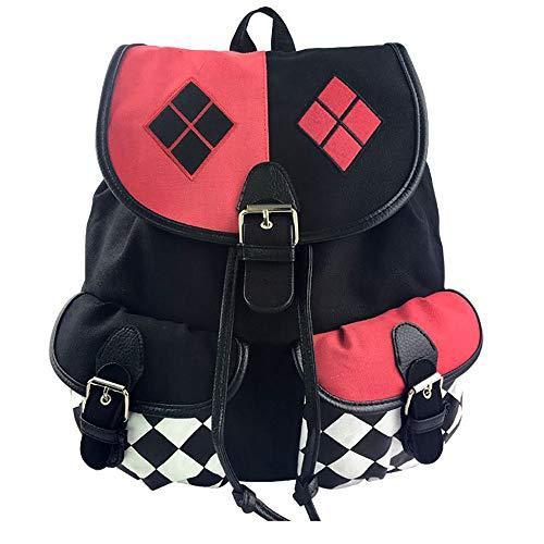 KEBEIXUAN Suicide Squad Harley Quinn Canvas Dark Bag bundle Mochila Shoulder Canvas Mochila para viajes, viaje, uso en el campus (Escuadrón Suicida)