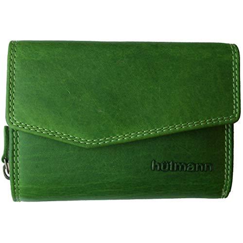 Hütmann Geldbörse Geldbeutel Leder Frauen mit RFID-Schutz mit vielen Fächern grün