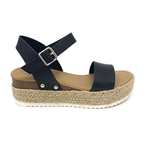 SODA Clip Topshoe Avenue Women's Open Toe Ankle Strap Espadrille Sandal (8.5, Black) Black Open Toe Ankle Strap