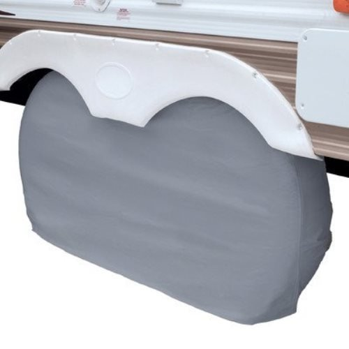 Classic Accessories 80-107-021001-00 OverDrive RV Dual Axle Wheel Cover, Grey, Small