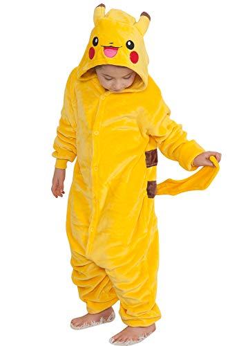 "Qemsele Bambini Kigurumi Pigiama Onesie Ragazza Ragazzo 3D Cappuccio Anime Halloween Natale Cosplay Party Costume Attrezzatura Sleepwear (130 per Altezza 120-130 cm (47""-51""), Pikachu)"