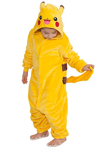 Qemsele Bambini Kigurumi Pigiama Onesie Ragazza Ragazzo 3D Cappuccio Anime Halloween Natale Cosplay Party Costume Attrezzatura Sleepwear (130 per Altezza 120-130 cm (47'-51'), Pikachu)