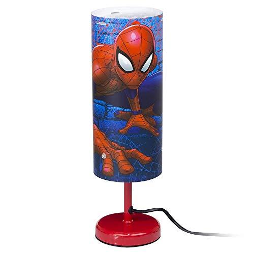 Marvel 1283 Lampe de chevet Spiderman lumière de table des super-héros Rouge -