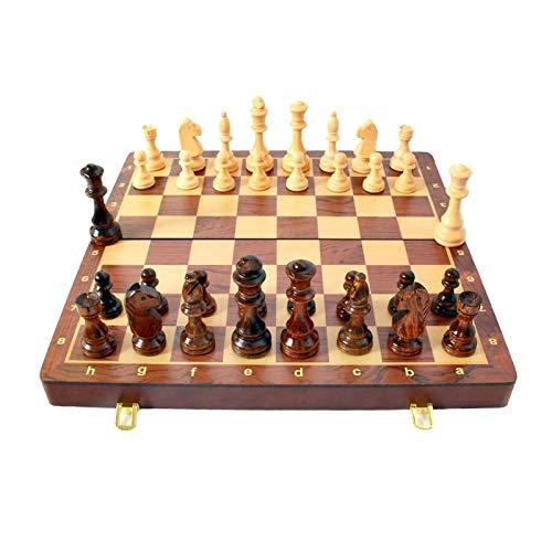 XXYHYQHJD 45x45cm Juego estándar clásico de ajedrez de Madera Conjunto Plegable Tablero Gran Regalo Staunton Madera Tablas de Madera Tablero de ajedrez