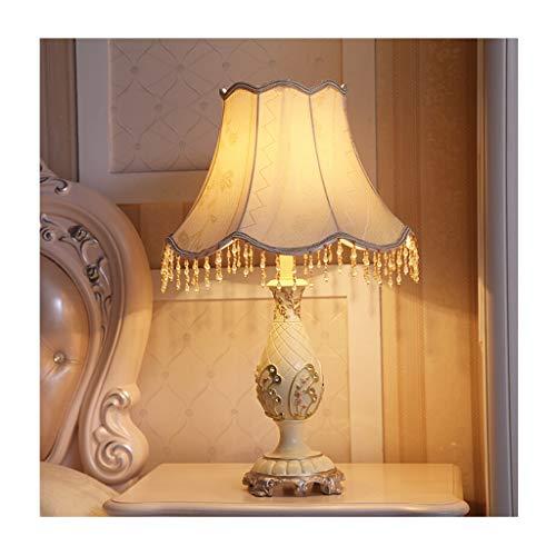 Lampe de table Chambre Lampe de bureau Salon Décoration de table de chevet Lumière Style européen Ombre en tissu Rétro Décoration Creative