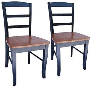 Terrific Set Of 2 Madrid Black And Cherry Ladderback Dining Chairs Inzonedesignstudio Interior Chair Design Inzonedesignstudiocom