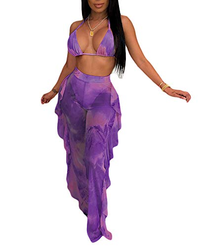 Ophestin Womens Sexy Halter Sheer Bikini Ruffle Long Pants Set 2 Piece Swimsuit Purple Size L