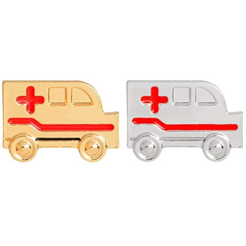 CoSunny Ambulance Anstecknadel 2-teiliges Set Arzt Krankenschwester Medizinische Emaille Brosche Anstecknadeln Zubehör Abzeichen Geschenk Gold Silber