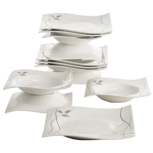 Maxwell & Williams rp70912Leaves de en de Motion Juego de Mesa, Vajilla de Cocina, Set, 12Piezas, en Caja de Regalo, Porcelana
