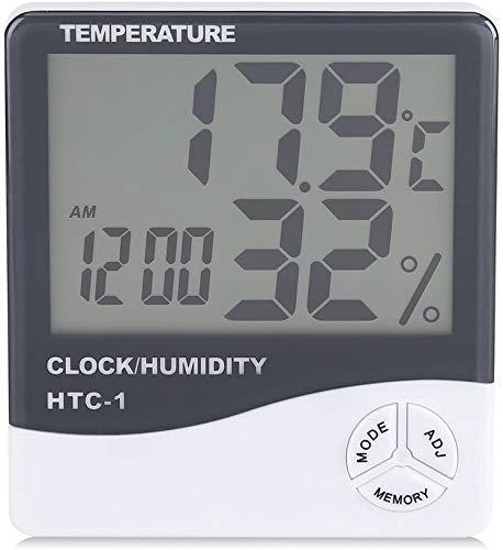 Higrómetro Termómetro Digital, Monitor de Humedad Interior Temperatura Digital Precisa Termómetro Digital con Despertador - Fácil de leer Pantalla LCD para Home Office Comfort
