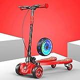 SCJ Scooters de Acero al Carbono para niños con 4 Ruedas LED, Triciclo Plegable Rojo para niñas y niños de 8 años en adelante