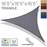 SUNNY GUARD 16'5'' x 16'5'' x 16'5'' Charcoal Triangle Sun Shade Sail UV Block for Outdoor Patio Garden