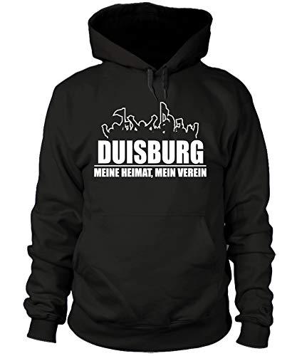 shirtloge - Duisburg - Fanblock - Meine Heimat, Mein Verein - Fussball Fan Kapuzenpullover - Schwarz - Größe L