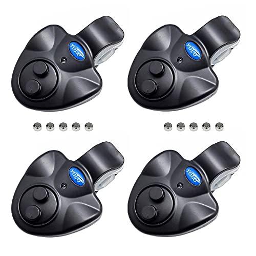 JEROOP 4 Stück elektronischer bissanzeiger Angeln, Empfindsame LED Fischbissanzeiger-Leuchtanzeiger Swinger Vibration auf der Rute Angeln Summer Ausrüstung
