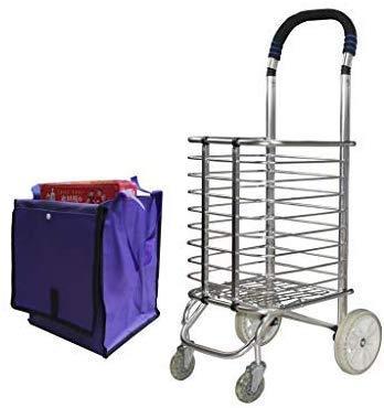 Carro, compras Cartclimbing, pequeño remolque plegable portátil de la carretilla de coches de aleación de aluminio de la carretilla de la carretilla Rueda de acero inoxidable, ocho rondas de modelos o