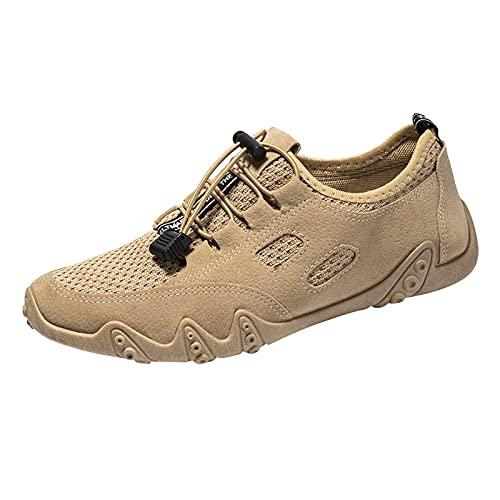 Corlidea Zapatillas deportivas unisex para adultos, cómodas, ultraligeras, con cordones, modernas, con cojín de aire, para correr, hacer deporte, para el tiempo libre, color Marrón, talla 41 EU