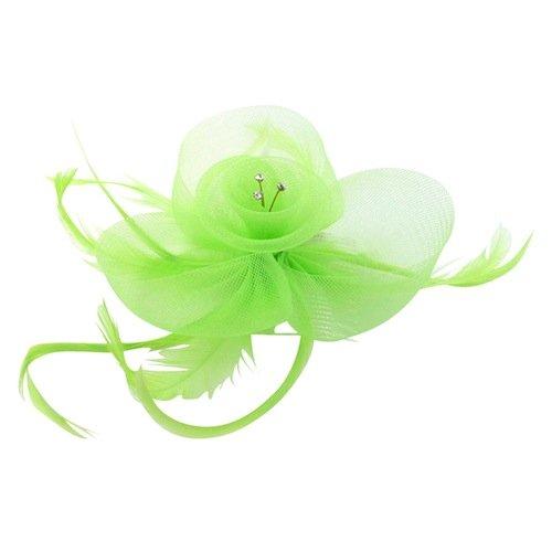 Bride Boutique Bal Mariage Courses Diamant & Coiled Maille Plume Fleur Peigne De Cheveux Fascinateur - Vert Clair