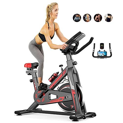 Bicicletas de ejercicio para uso en el hogar mayores, inoxidable grande con soporte para teléfono móvil, sensor de RPM, máquina de entrenamiento cardiovascular con monitor de pulso y botella de agua