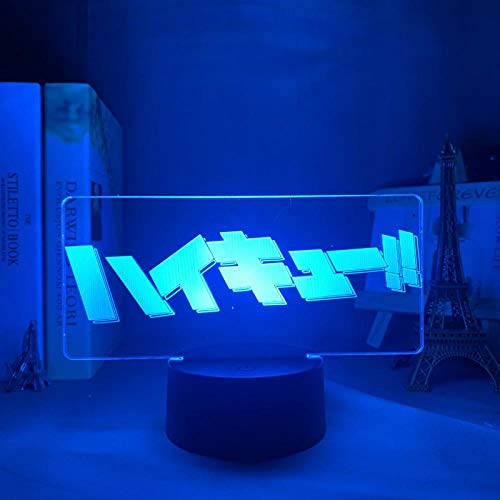 Luz nocturna 3D con logo de Anime Haikyuu, lámpara LED de noche para niños, dormitorio, decoración manga, regalo de cumpleaños, juguete, escritorio, lámpara de mesa, 7 colores táctiles