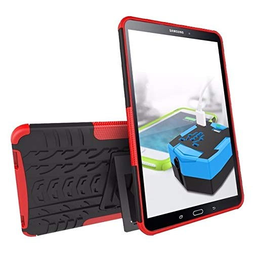 HHF Tab Accessories For Samsung Galaxy Tab A 10.1 2019 T515/T510 SM T580 T585, Silicon TPU+PC Shell Shockproof Stand Cover+pen For Galaxy TabA 10.1 (Color : Red, Size : Tab A 10.1 T515 T510)