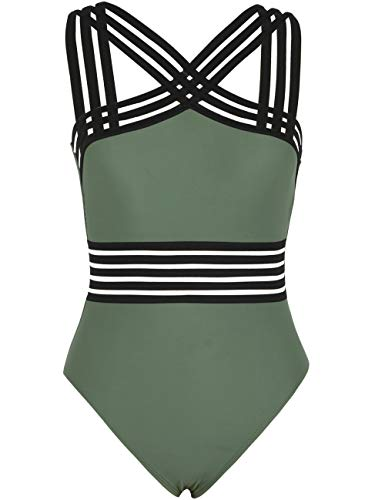Hilor Women's One Piece Swimwear Front Crossover Swimsuits Hollow Bathing Suits Monokinis Army Green M/US8-10