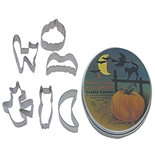 R&M International Mini Halloween Cookie Cutters, Bat, Pumpkin, Owl, Moon, Cat, Flying Witch, 6-Piece Set