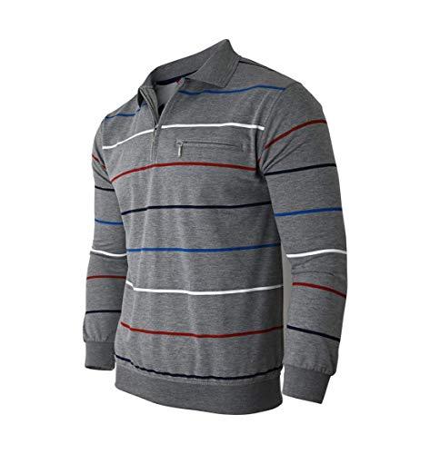 Soltice Langarm Poloshirt, Polohemd/Pullover, Sweatshirt mit Kragen für Herren - mehrere Design (M bis 3XL) (3XL, Grau [D1])