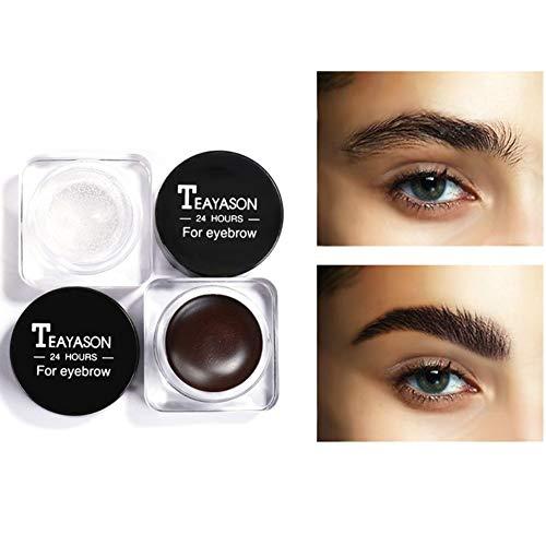 2PCS Kit de savon de coiffure pour sourcils sauvages - 4D Sourcils Gel Eyeliner Styling Crème Gel de Fixation de Sourcils Durable Gel de Maquillage des Sourcils Imperméable Cosmétique
