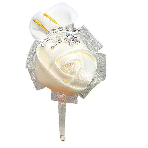 Treestar Hochzeits-Brosche für Damen, Brautjungfern, Schleife mit Rose, Blumenapplikation mit Rückseite für Kleider, Kleidung, Anzug, Dekoration