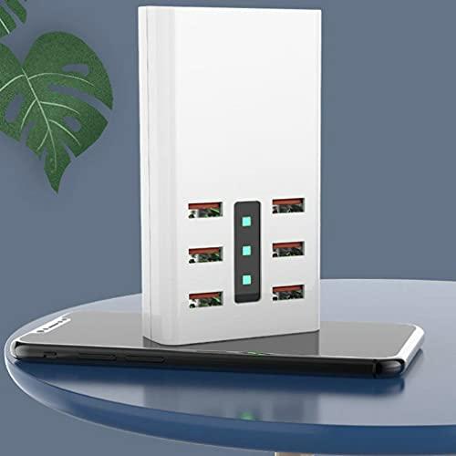 RHNE Cargador USB de 30 W, 6 Puertos, 6 A, Enchufe, Toma de Corriente, Base, Adaptador de Carga rápida