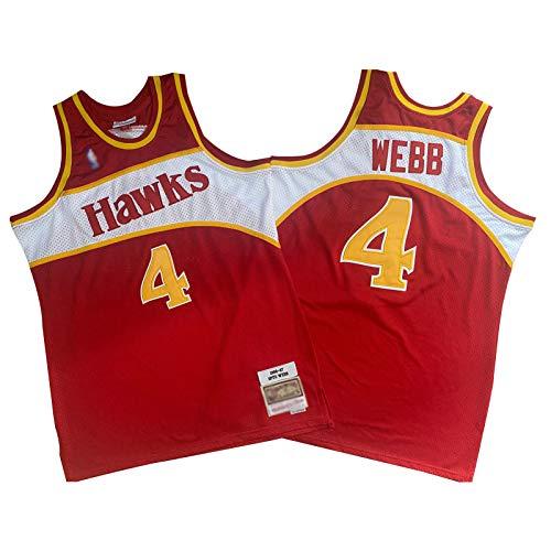 CLKI Hawks - Camiseta de baloncesto retro para hombre, diseño de Wilkins y Spud Webb, de secado rápido, malla transpirable #4-S
