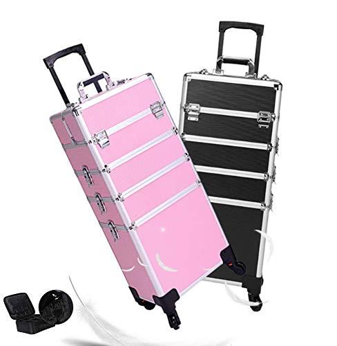 BYCDD Portable Valise de Maquillage Professionnel, Aluminium Valise à Cosmétique Trolley à Maquillage Maquilleurs Mallette de Maquillage Voyage,Set