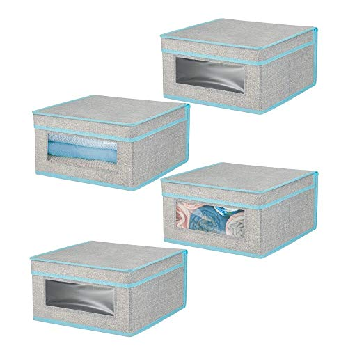 mDesign Juego de 4 cajas con tapa apilables para ropa, sábanas, etc. – Cajas de tela medianas con ventana transparente – Ideales como organizador de armarios en dormitorios o pasillos – gris/turquesa