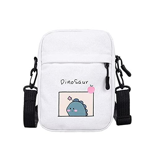 FWJSDPZ Bolso pequeño de lona para mujer, nuevo dinosaurio, bolso bandolera para estudiantes, para mujer, color blanco
