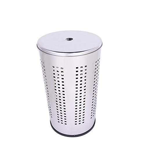 Ribelli Wäschebox Wäschekorb mit Deckel Wäschetonne 50 Liter verchromt - praktische Wäschesammler in V-Form mit Luftlöchern auch als Wäschesortierer geeignet