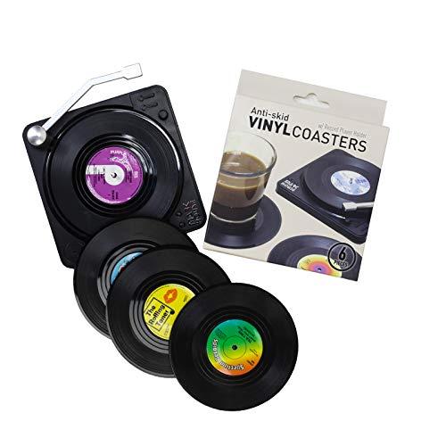ELVEDO Vinyl Coasters with Holder Vinyl Records Coasters Retro Coasters for Drinks Funny Coasters...