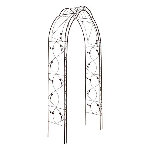 XXL Rosenbogen aus Metall, stabil (260 x 130 x 39 cm) Rosen Rankhilfe Rankbogen - Stabiler Torbogen Rosengestell Garten (Braun)