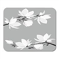 耐久性があるマウスパッドラバーミニ長方形結婚式の枝花春マグノリア白い花美しいゲームノートブックコンピューターアクセサリーバッキング