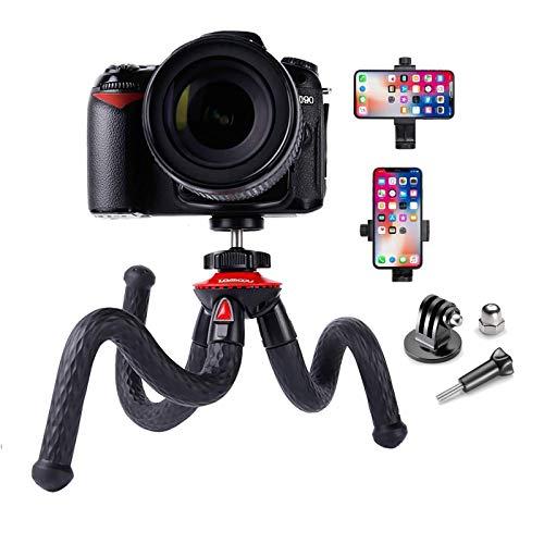 Handy Stativ für Smartphone Flexibel Stativ mit Stativhandyhalter & GoPro Adapter Reisestativ für iPhone Samsung Xiaomi Huawei Phone Tripod