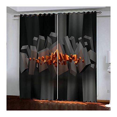 Daesar Cortinas Opaca Ventana Gris Naranja Cortina Salon Poliester 3D Rectángulo 274x274CM