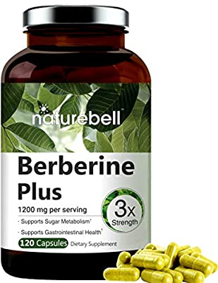 Maximum Strength Berberine Plus, 1200mg Per Serving, 120 Capsule, Powerfully Supports Glucose Metabolism, Immune System, Fat Burn, Cardiovascular and Gastrointestinal Function, Non-GMO, Made in USA.