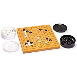 Go Game Set with Reversible (13x13 | 9x9) Shin Kaya Go Board (0.8-Inch Thick) and Double Convex Stones