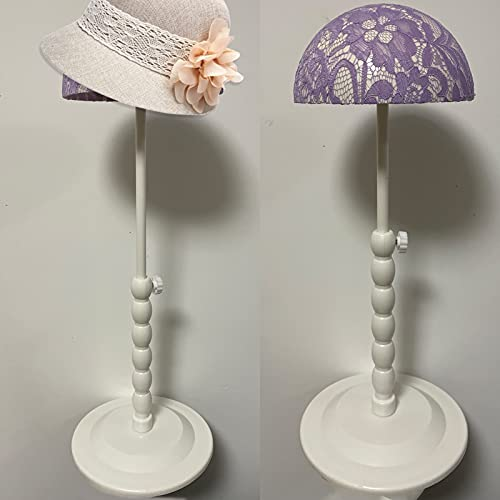 Wig Stand Plastic Wig Holder for Styling 25-48cm Adjustable Height Hat Cap DIY Display for Short Long Wigs Portable Folding Portable Hat Head Stand Mannequin Head Easy Assembly Stable (Purple)