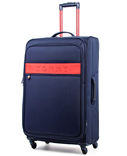 Tommy Hilfiger Scout 5.0 Softside Expandable Spinner Luggage, Navy, 20 Inch